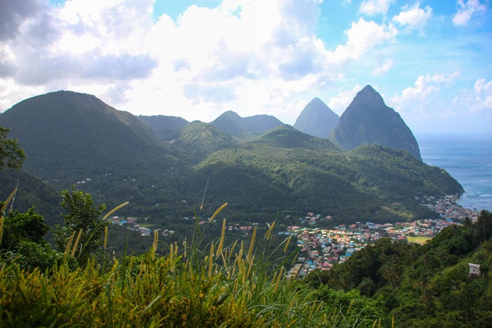 Pitons viewpoint St Lucia